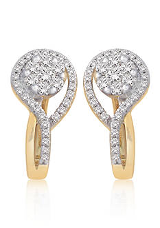 Belk & Co. Diamond Cluster Earrings in 10k Yellow Gold