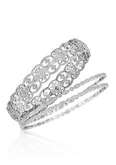 Belk & Co. Diamond Vintage Bangle in Sterling Silver 3-Piece Set