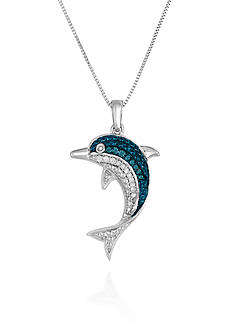 Belk & Co. Blue and White Diamond Dolphin Pendant in Sterling Silver