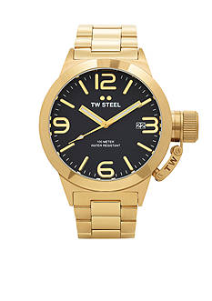 TW Steel Men's Gold Tone Black Dial Watch