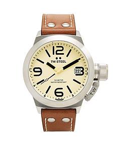 TW Steel Men's Beige Strap Cream Dial Watch