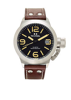 TW Steel Men's Brown Strap Black Dial Watch