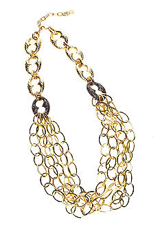 R.J. Graziano Multi Chain Gold Necklace