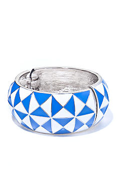 R.J. Graziano Wide Geometric Pyramid Hinged Bangle