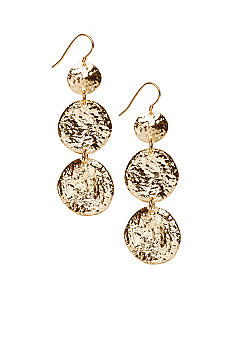 R.J. Graziano Triple Gold Disc Drop Earrings