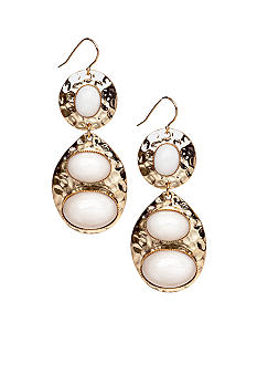 R.J. Graziano Gold and White Drop Earrings