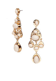 R.J. Graziano Gold and Ivory Chandelier Earrings