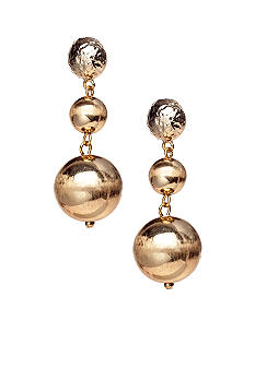 R.J. Graziano Triple Gold Bead Drop Earrings
