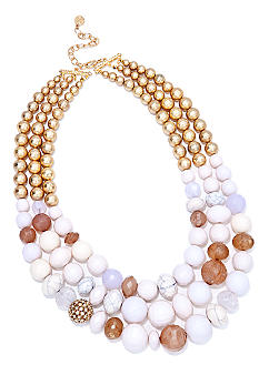 R.J. Graziano Three Row Beaded Necklace