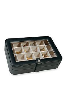 Mele & Co. Elaine Faux Leather Glass Top Jewelry Box in Black - Online Only