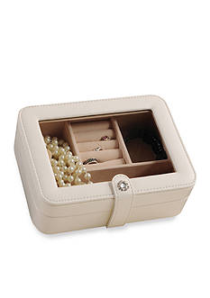 Mele & Co. Rio Faux Leather Glass Top Jewelry Box in Ivory