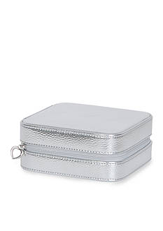 Mele & Co. Luna Travel Jewelry Case in Silver Metallic Faux Leather