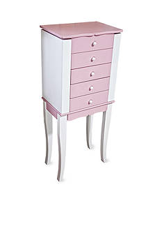 Mele & Co. Louisa Girl's Pink and White Wooden Jewelry Armoire