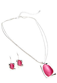 Kim Rogers® Rectangle with Oval Cat Eye Pendant Necklace and Earring Set