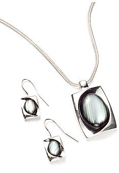 Kim Rogers Rectangle with Oval Cat Eye Pendant Necklace and Earring Set