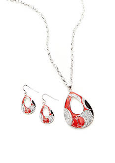 Kim Rogers Red Open Teardrop Pendant Necklace and Earrings Set