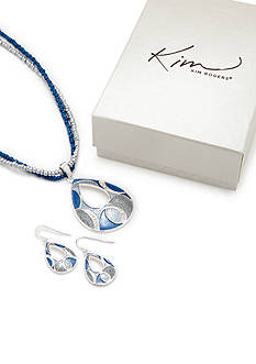 Kim Rogers Tonal Blue Open Teardrop Necklace and Earring Set
