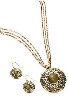Kim Rogers® Round Metal Animal Texture Pendant Necklace and Earrings Set