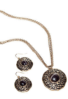 Kim Rogers® Round Gold Animal Texture Pendant Necklace And Earring Set