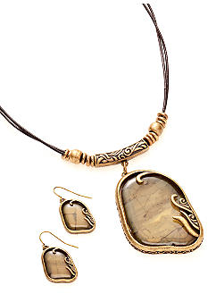 Kim Rogers® Olive And Gold Free-form Pendant Necklace And Earrings Set
