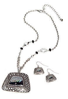 Kim Rogers® Silver and Jet Pyramid Pendant Chain Necklace With Earring Set