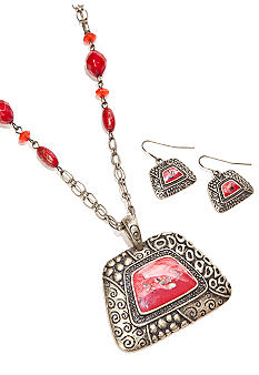 Kim Rogers® Metal Textured Pyramid Pendant Necklace and Earring Set