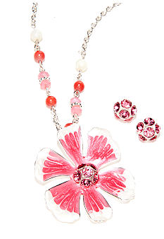 Pink Tonal Flower Necklace and Earring Set