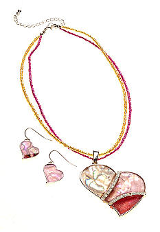 Kim Rogers® Pink Abalone Heart Necklace and Earring Set