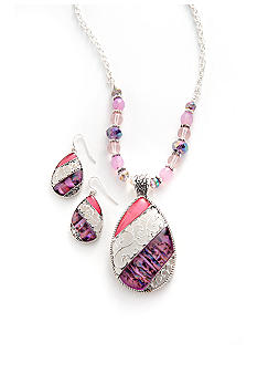 Kim Rogers Pink Cateye Necklace and Earring Set