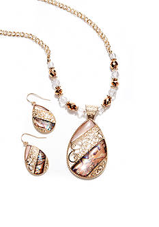 Kim Rogers Natural Open Filigree Teardrop Necklace And Earring Set
