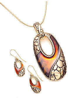 Kim Rogers Elongated Open Oval Pendant Necklace and Earrings Set