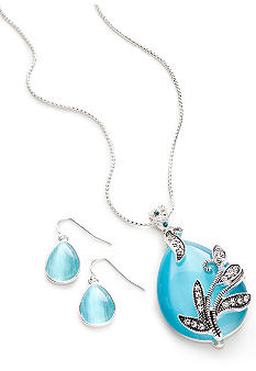 Kim Rogers Blue Cat Eye and Marcasite Floral Pendant Necklace and Earring Set