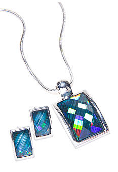 Kim Rogers Turquoise Rectangle Necklace and Earring Set
