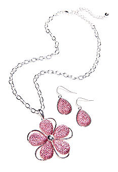 Kim Rogers Pink Teardrop Flower Necklace and Earring Set
