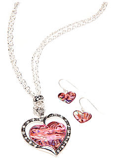 Kim Rogers Pink Abalone Heart Necklace and Earring Set