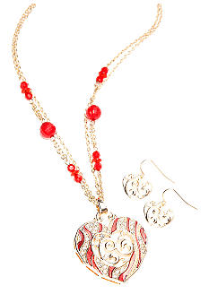 Kim Rogers Red Rhinestone Heart Necklace and Earring Set