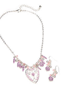 Kim Rogers Pink Heart Charm Necklace and Earring Set