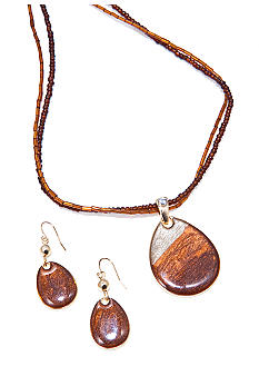 Kim Rogers Natural Shimmer Teardrop Necklace and Earring Set