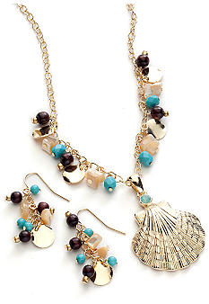 Kim Rogers® Gold Shell Pendant Necklace and Earring Set