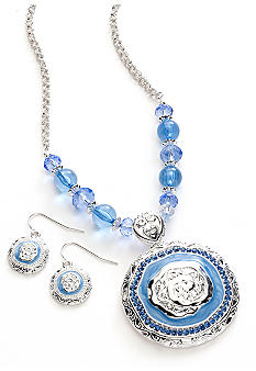 Kim Rogers Tonal Blue Round Textured Pendant Necklace and Earring Set