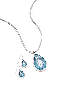 Kim Rogers Foil Turquoise Teardrop Necklace and Earrings Set