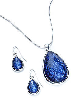 Kim Rogers Teardrop Pendant Necklace and Earring Boxed Set