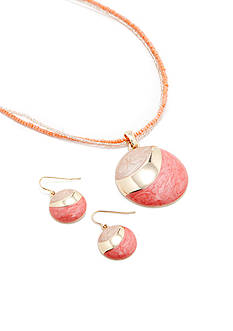 Kim Rogers Round Coral Pendant Necklace and Earring Boxed Set