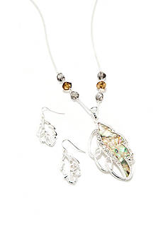 Kim Rogers Silver-Tone Leaf Pendant Necklace and Earring Boxed Set