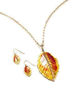 Kim Rogers Gold-Tone Leaf Pendant and Earring Boxed Set