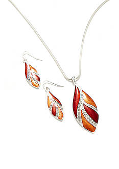 Kim Rogers Silver-Tone Red Leaf Pendant Necklace and Earring Set