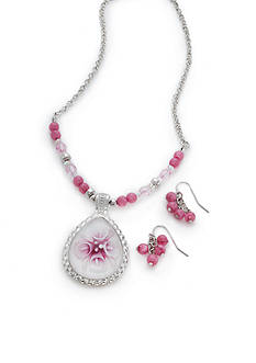 Kim Rogers Silver-Tone Pink Floral Pendant Necklace and Earrings Boxed Set