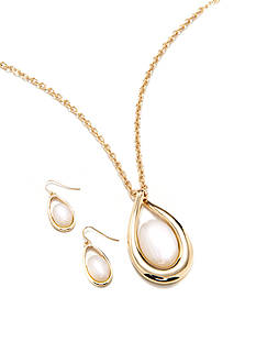 Kim Rogers Gold-Tone White Teardrop Necklace and Earring Boxed Set