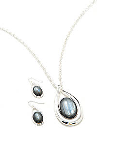 Kim Rogers Silver-Tone Gray Teardrop Necklace and Earring Boxed Set
