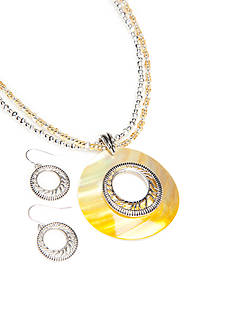 Kim Rogers Silver-Tone Yellow Round Pendant Necklace and Earrings Boxed Set